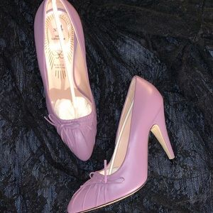 Gucci leather #4 New Lavender rouched bow heels 💜